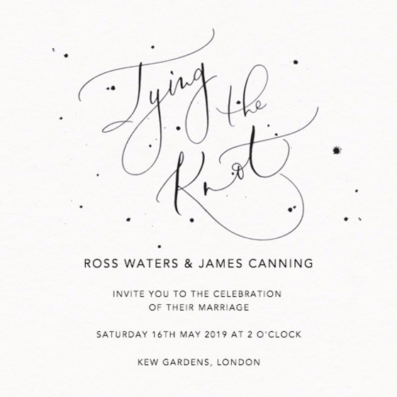 Tying the Knot Speckle | Personalised Wedding Invitation