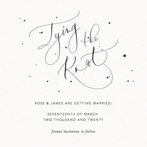 Tying the Knot Speckle | Personalised Save The Date