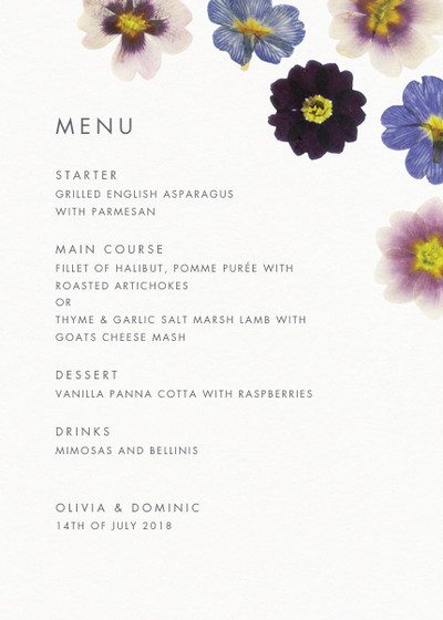 Primrose | Personalised Menu