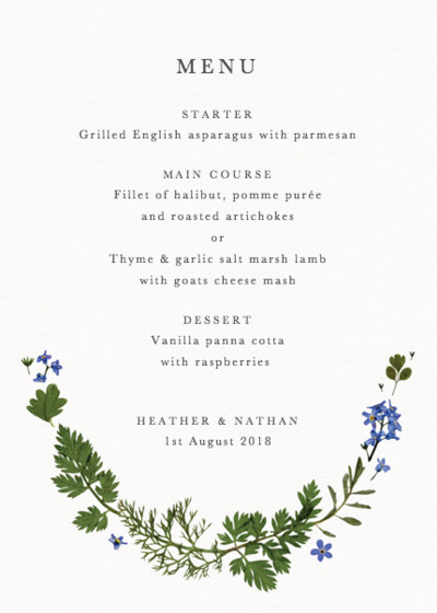 Blue Meadow | Personalised Menu