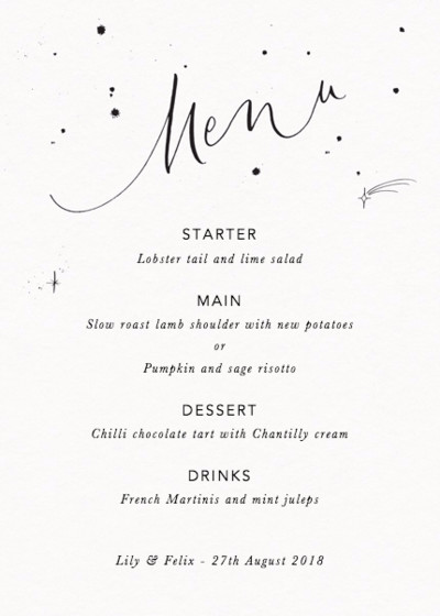 Menu Starry | Personalised Menu