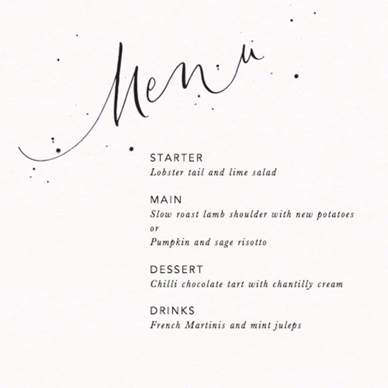 Menu Speckle | Personalised Menu