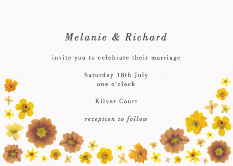 Yellow Blossoms   Personalised Wedding Invitation
