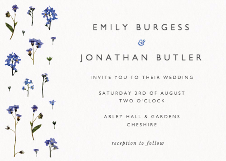 Forget-Me-Not Scatter | Personalised Wedding Invitation