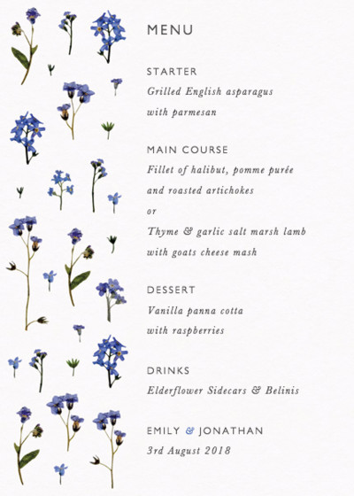 Forget-Me-Not Scatter   Personalised Menu