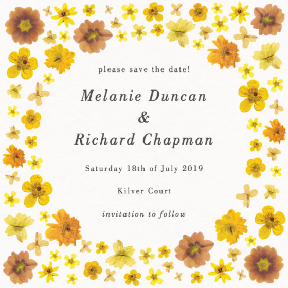 Yellow Blossoms | Personalised Save The Date