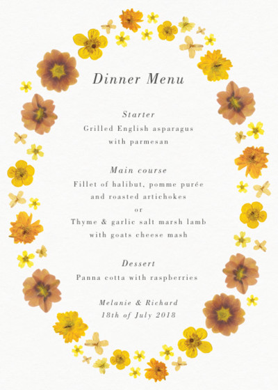 Yellow Blossoms | Personalised Menu