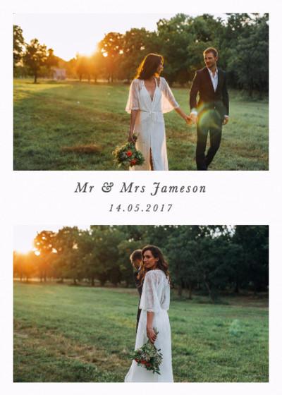 Portrait Wedding Duo | Personalised Photo Card Set