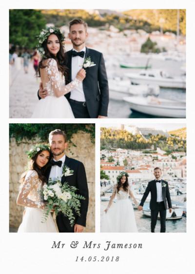 Portrait Wedding Triptych   Personalised Photo Card Set