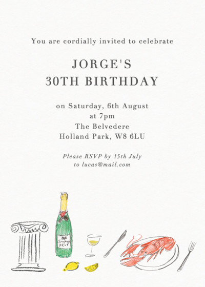Lobster Picnic | Personalised Party Invitation