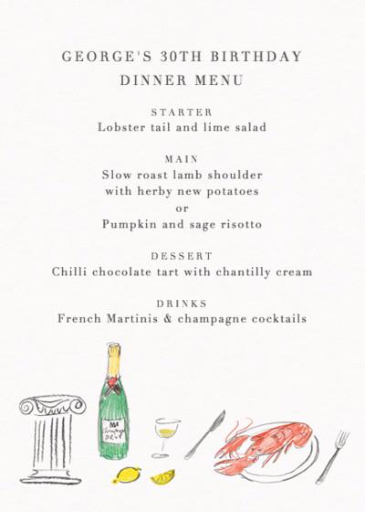 Lobster Picnic | Personalised Menu