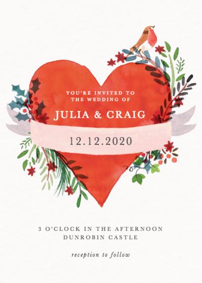 Christmas Heart | Personalised Wedding Invitation