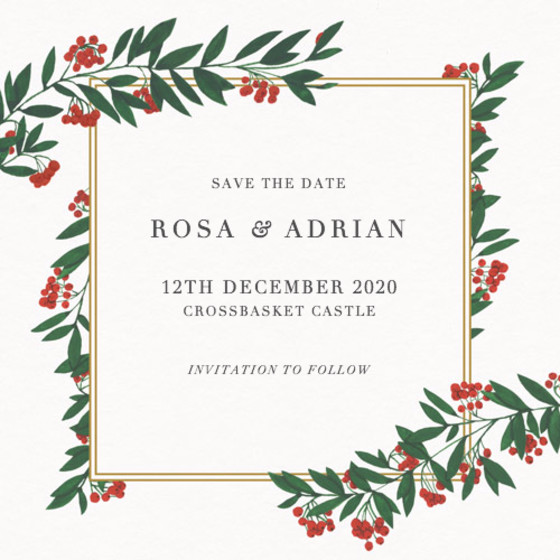 Winter Red Berries | Personalised Save The Date