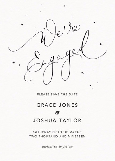 We're Engaged Speckle | Personalised Save The Date