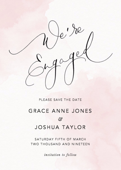 We're Engaged Blush | Personalised Save The Date