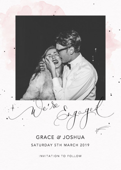 We're Engaged Starry Blush   Personalised Save The Date