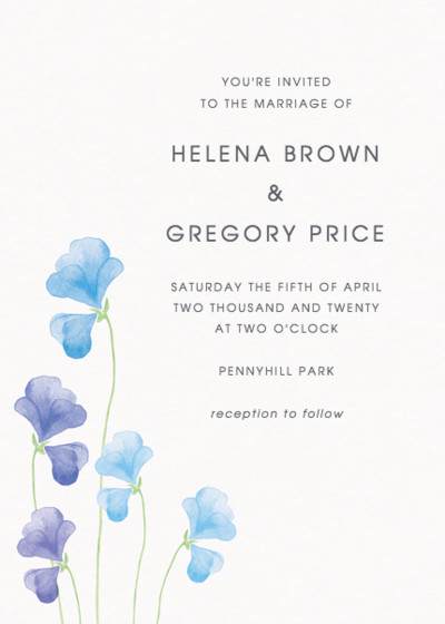 Blue Sweet Peas | Personalised Wedding Invitation