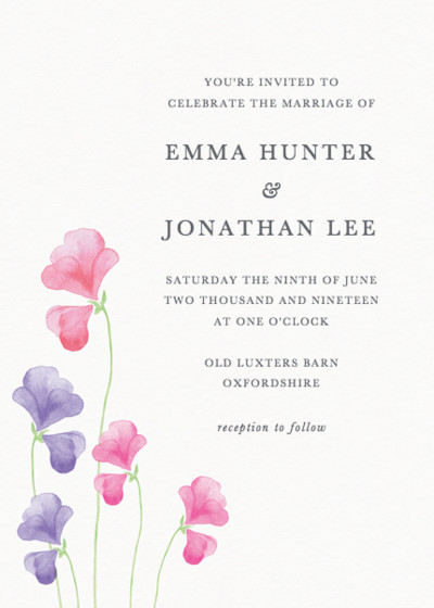 Pink Sweet Peas | Personalised Wedding Invitation