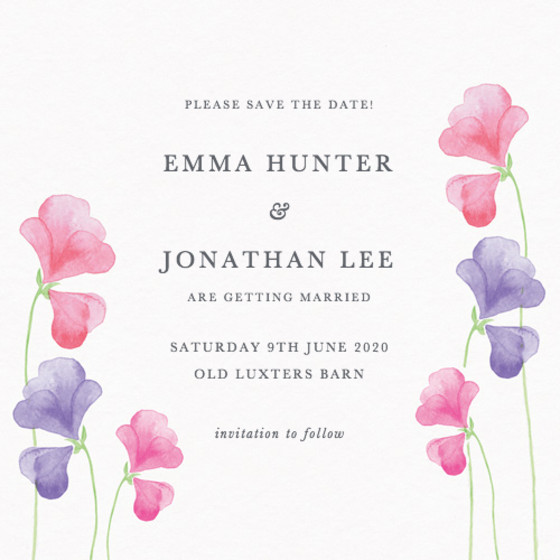 Pink Sweet Peas | Personalised Save The Date