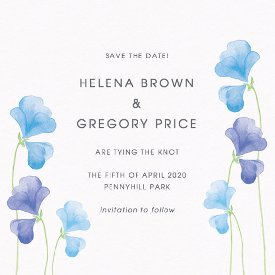 Blue Sweet Peas | Personalised Save The Date
