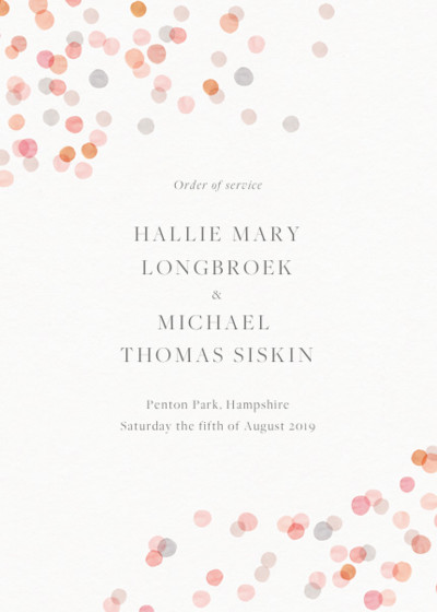 Blush Confetti | Personalised Order Of Service