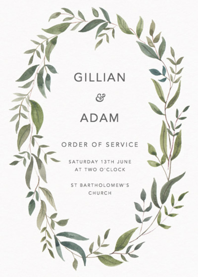 Foliage | Personalised Order Of Service
