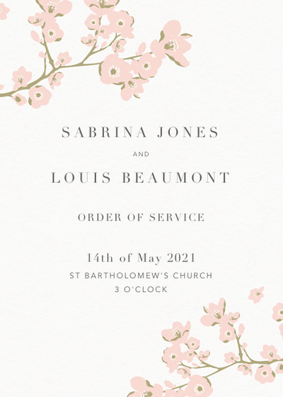 Cherry Blossom | Personalised Order Of Service