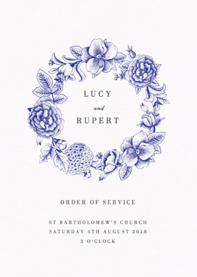 Blue Hydrangea | Personalised Order Of Service