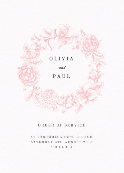 Pink Hydrangea | Personalised Order Of Service