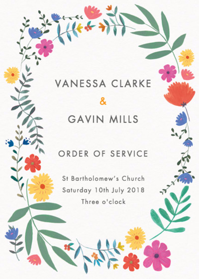 Bright Wild Flowers | Personalised Order Of Service