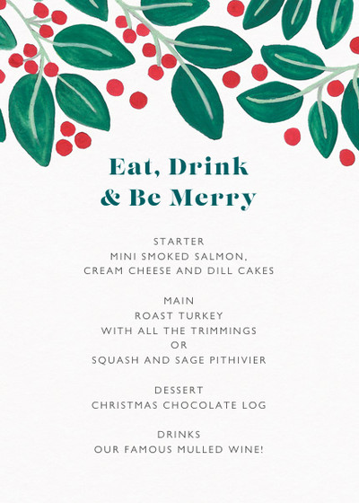 Christmas Berries & Leaves | Personalised Menu