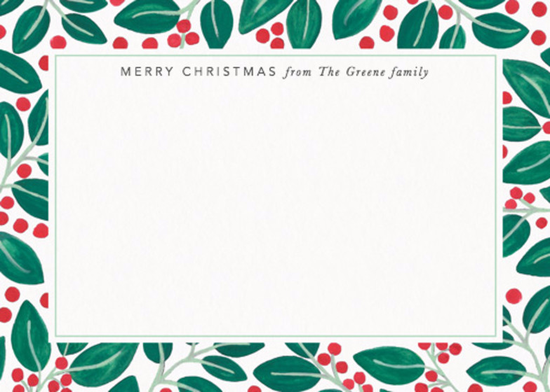Christmas Berries & Leaves | Personalised Stationery Set