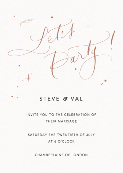 Let's Party Starry Bronze | Personalised Wedding Invitation