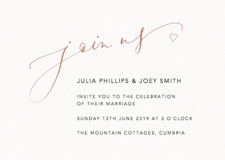 Join Us Love Heart Bronze | Personalised Wedding Invitation