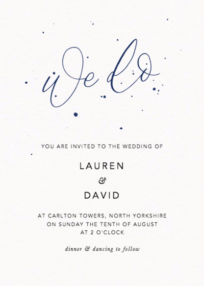 We Do Speckle Navy   Personalised Wedding Invitation