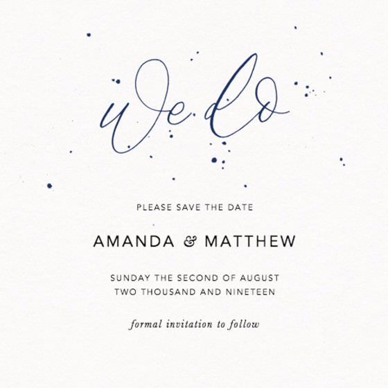 We Do Speckle Navy   Personalised Save The Date