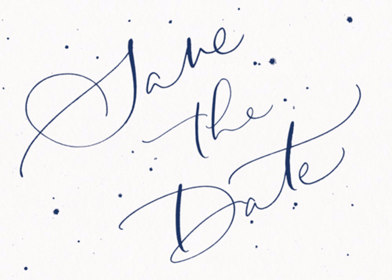 Save The Date Speckle Navy   Personalised Save The Date