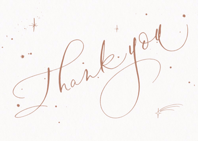 Thank You Starry Bronze | Personalised Thank You Card Set