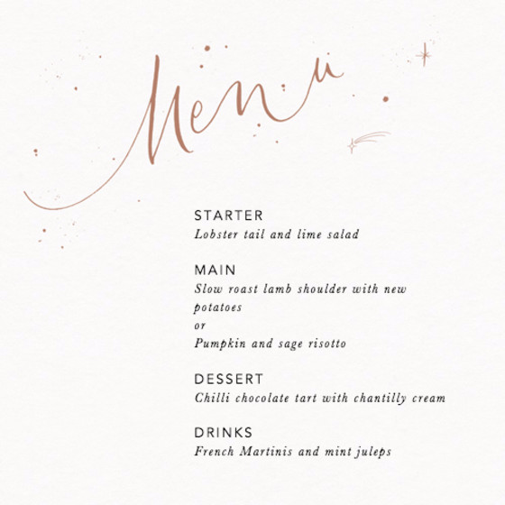 Menu Starry Bronze | Personalised Menu