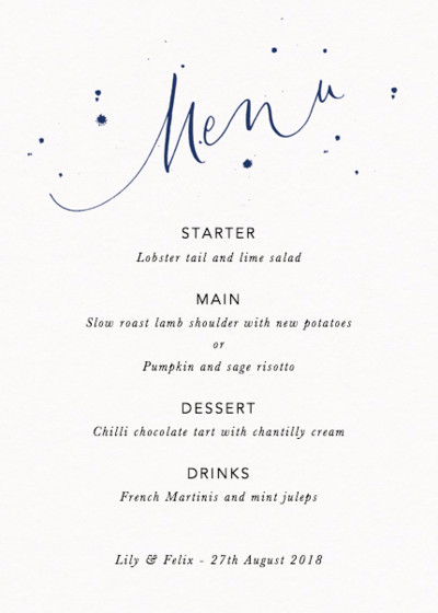 Menu Speckle Navy | Personalised Menu