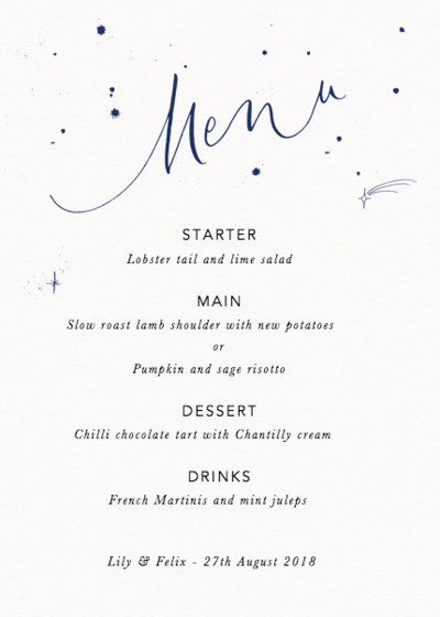 Menu Starry Navy | Personalised Menu