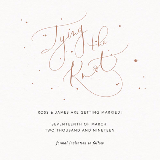 Tying the Knot Speckle Bronze | Personalised Save The Date