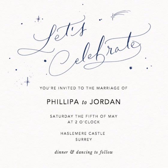 Let's Celebrate Starry Navy | Personalised Wedding Invitation