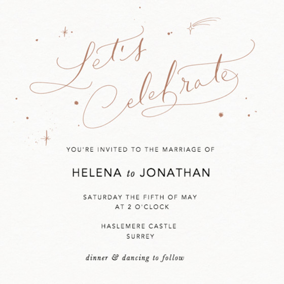 Let's Celebrate Starry Bronze | Personalised Wedding Invitation