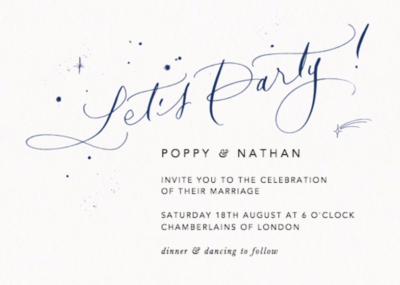 Let's Party Starry Navy | Personalised Wedding Invitation