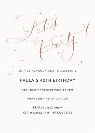 Let's Party Starry Bronze | Personalised Party Invitation