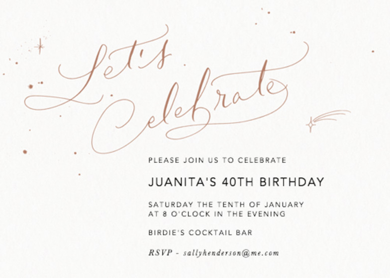 Let's Celebrate Starry Bronze | Personalised Party Invitation