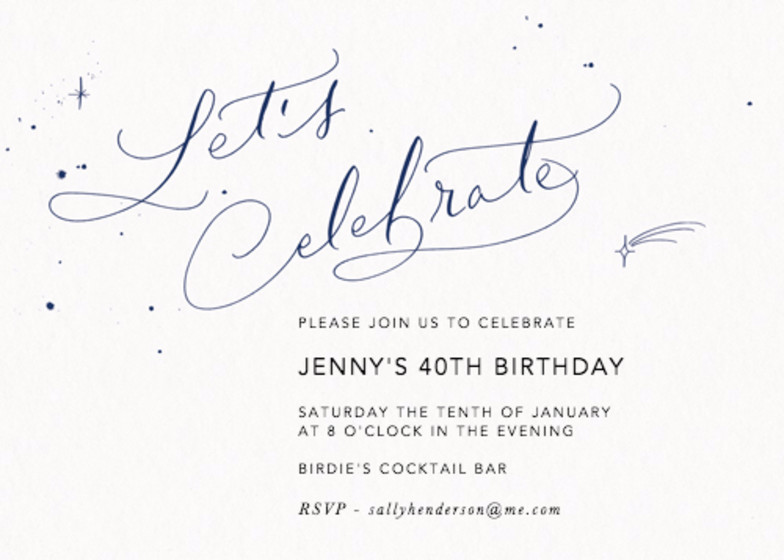 Let's Celebrate Starry Navy | Personalised Party Invitation