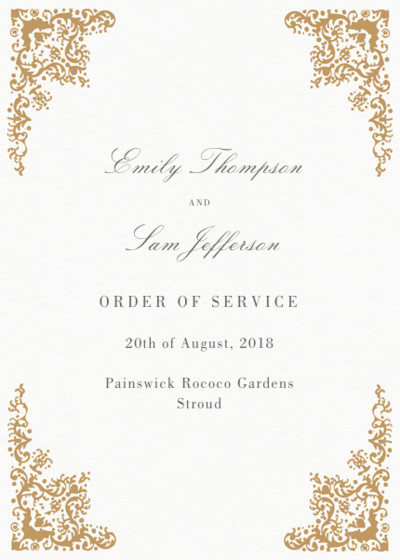 Rococo | Personalised Order Of Service