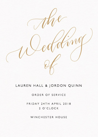 The Wedding Of Calligraphy Gold | Personalised Order Of Service